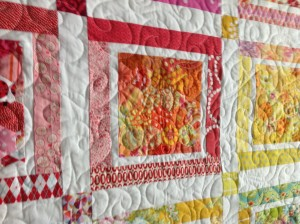 My hexies in the quilt