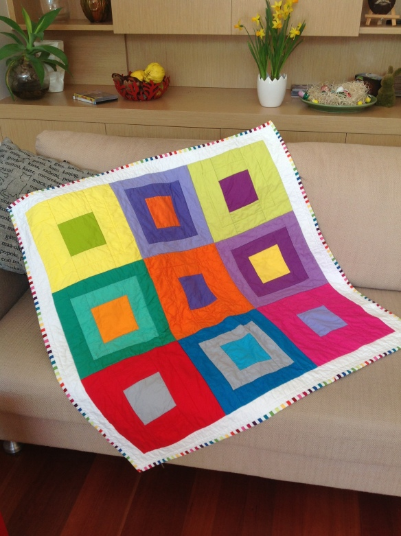 """Hip to Be Square""  baby Quilt May 2014"