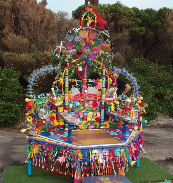 A colourful throne
