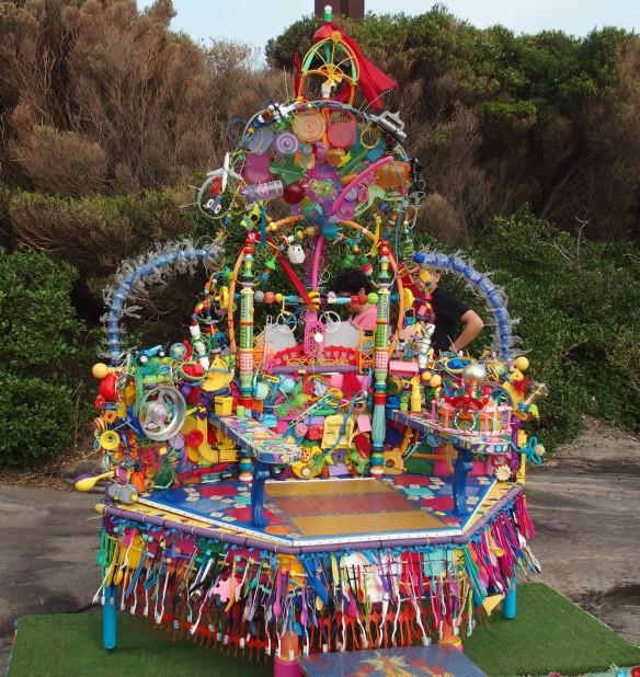 A colourful throne