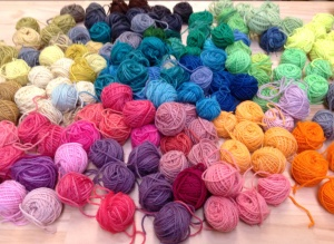 Hand dyed wool for weaving